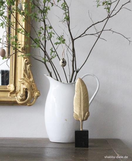 Ornament feder schwarz gold bei shabby diele ihrem online store f r ausgesuchte deko und - Deko schwarz gold ...